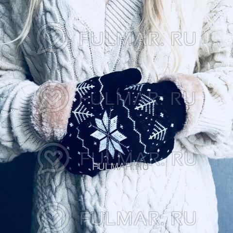 Варежки шерстяные вязаные со снежинками (цвет: черный)