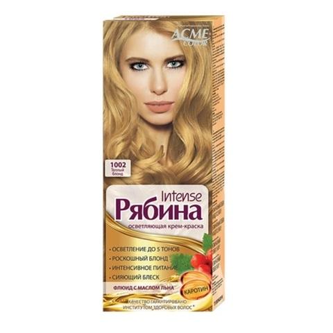 Рябина Intense Крем-краска для волос тон №1002 теплый блонд