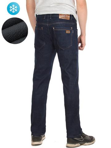 7711 джинсы мужские утепленные, темно-синие
