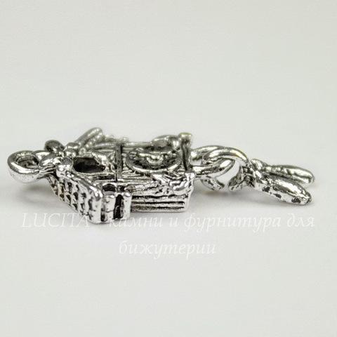 """Подвеска """"Часы с кукушкой""""  25х10 мм (цвет - античное серебро)"""
