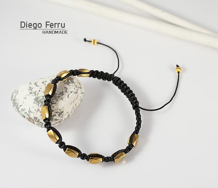 BS685 Браслет шамбала из золотистого гематита, ручная работа. «Diego Ferru» фото 04
