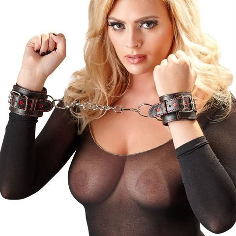 Кожаные наручники Bad Kitty