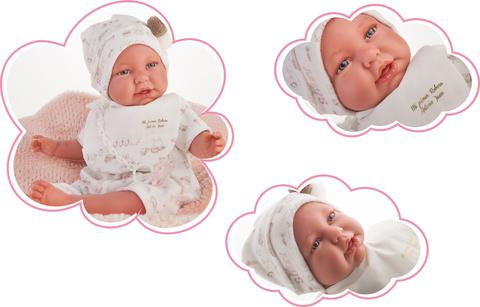 Munecas Antonio Juan Кукла Реборн младенец Урсула в белом 52см (8154W)