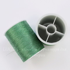 Нить металлизированная для вышивки бисером, 0,1 мм, цвет - шалфей, примерно 55 м