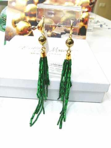 Серьги-каскад бисерные зеленые
