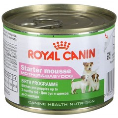 Royal Canin Starter Mousse влажный корм для собак в конце беременности и в период лактации весом менее 10 кг, а также для щенков с момента отъема до 2 месяцев
