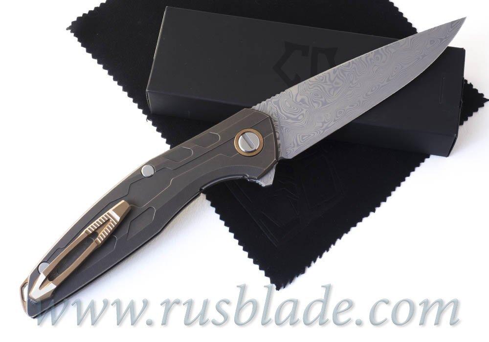 CUSTOM Shirogorov 111 TiBr Damascus KNIFE