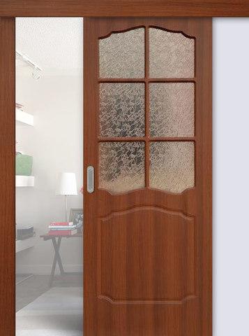 Дверь раздвижная Сибирь Профиль Классика, цвет итальянский орех, остекленная