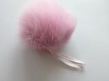 Помпон песец натуральный розовый 14-16 см