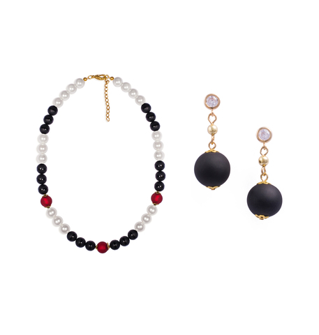 Комплект Giorno e Notte черно-бело-красный (серьги, ожерелье)