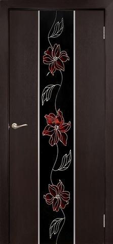 Дверь Дубрава Сибирь Гранд-Маки, стекло с рисунком/молдинг серебро, цвет венге, остекленная