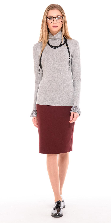 Юбка Б094-369 - Прямая юбка на подкладке.Застежка на молнию и пуговицу, сзади шлица. Плотная эластичная ткань. Модель полностью соответствует офисному дресс-коду.