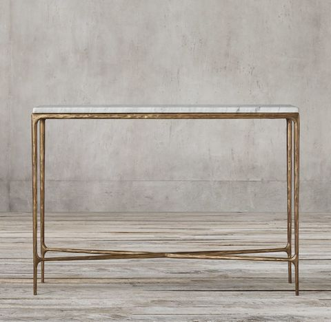 Thaddeus Forged Brass & Marble Rectangular Entry Console Table