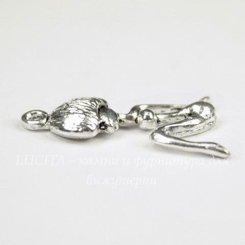 """Подвеска """"Туземка"""" (цвет - античное серебро) 23х15 мм"""