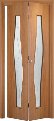 Дверь складная Верда С-10ф (2 полотна), Сатинато с фьюзингом, цвет миланский орех, остекленная