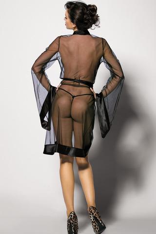 Черный польский эротичный сексуальный прозрачный пеньюар с поясом с широкими рукавами вид сзади
