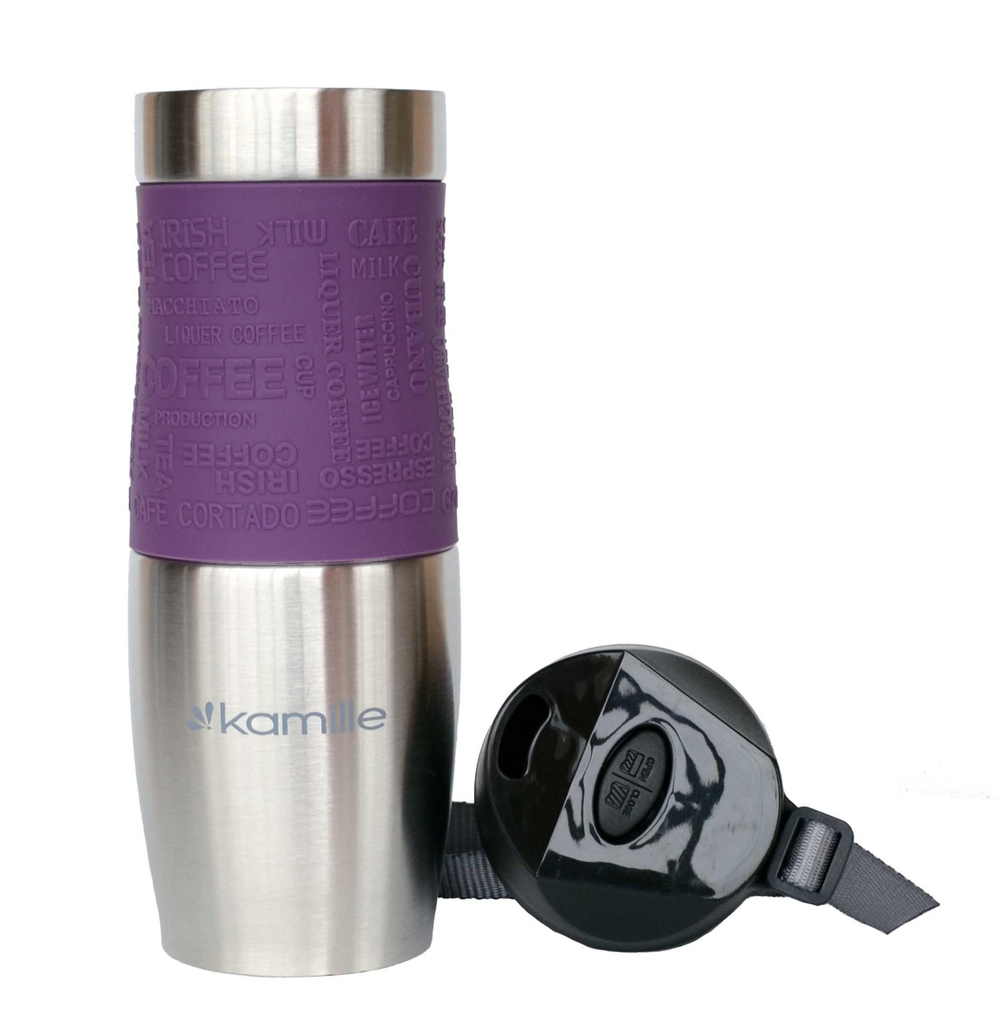 Термокружка Kamille c TPR и ремешком 480 мл. (хром) фиолетовая