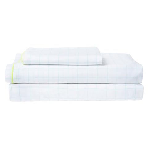 Комплект постельного белья с двойной простыней в мятную клетку