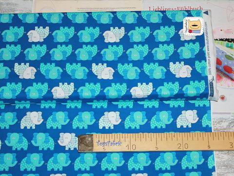 Ткань для пэчворка 20815 (слоны на синем) 45х55см