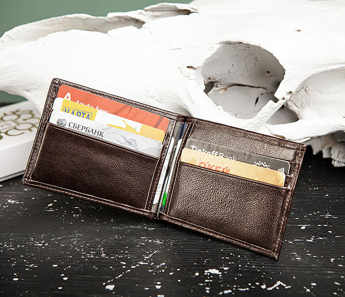 WL322-2 Коричневый зажим для денег из натуральной кожи, «Atos» фото 04