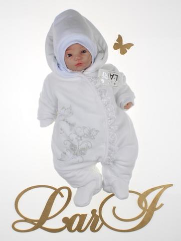 Велюровый комбинезон для новорожденных Веточка (белый)