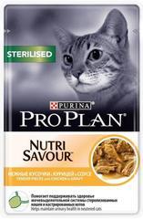 Влажный корм, Purina Pro Plan STERILISED, для стерилизованных кошек,с курицей