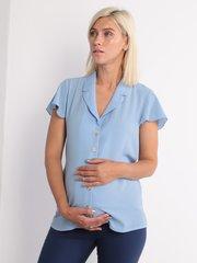 Евромама. Блуза для беременных и кормящих креп-шифон, голубой