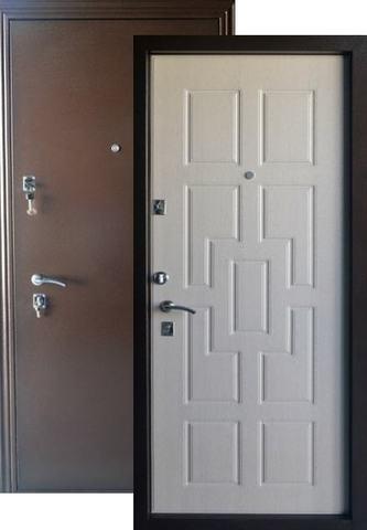 Дверь входная Меги ДС-531, 2 замка, 1,5 мм  металл, (античная медь+беленый дуб)