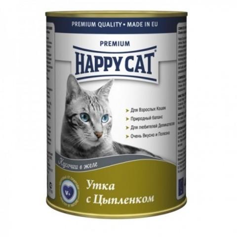 HAPPY CAT КУСОЧКИ В ЖЕЛЕ /УТКА И ЦЫПЛЕНОК/ - (КОНСЕРВЫ Ж/Б) - 0,4 кг-24шт