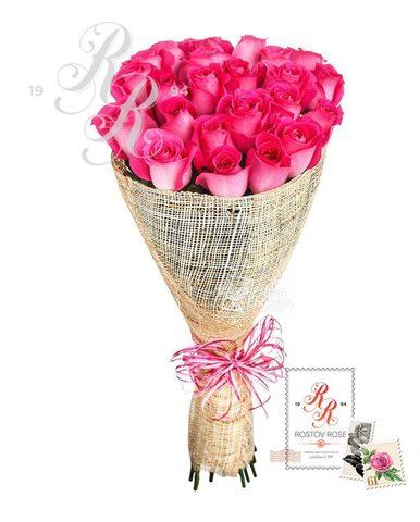 Букет 21 местная розовая роза