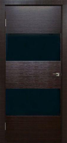 Дверь Визаж Тесла, стекло чёрное, цвет венге мокко, остекленная