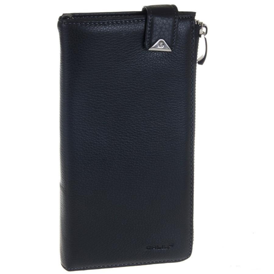 Мужской чёрный клатч портмоне из натуральной кожи GALIB 7M092