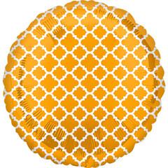 А 18 Круг Узор на золоте / Gold & White Quatrefoil S30 / 1 шт