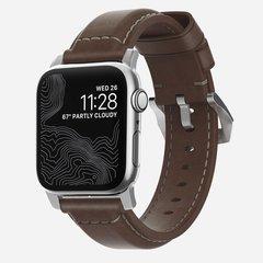 Ремешок Nomad Traditional Strap для Apple Watch 44mm/42mm кожа темно-коричневый, застежка серебристый