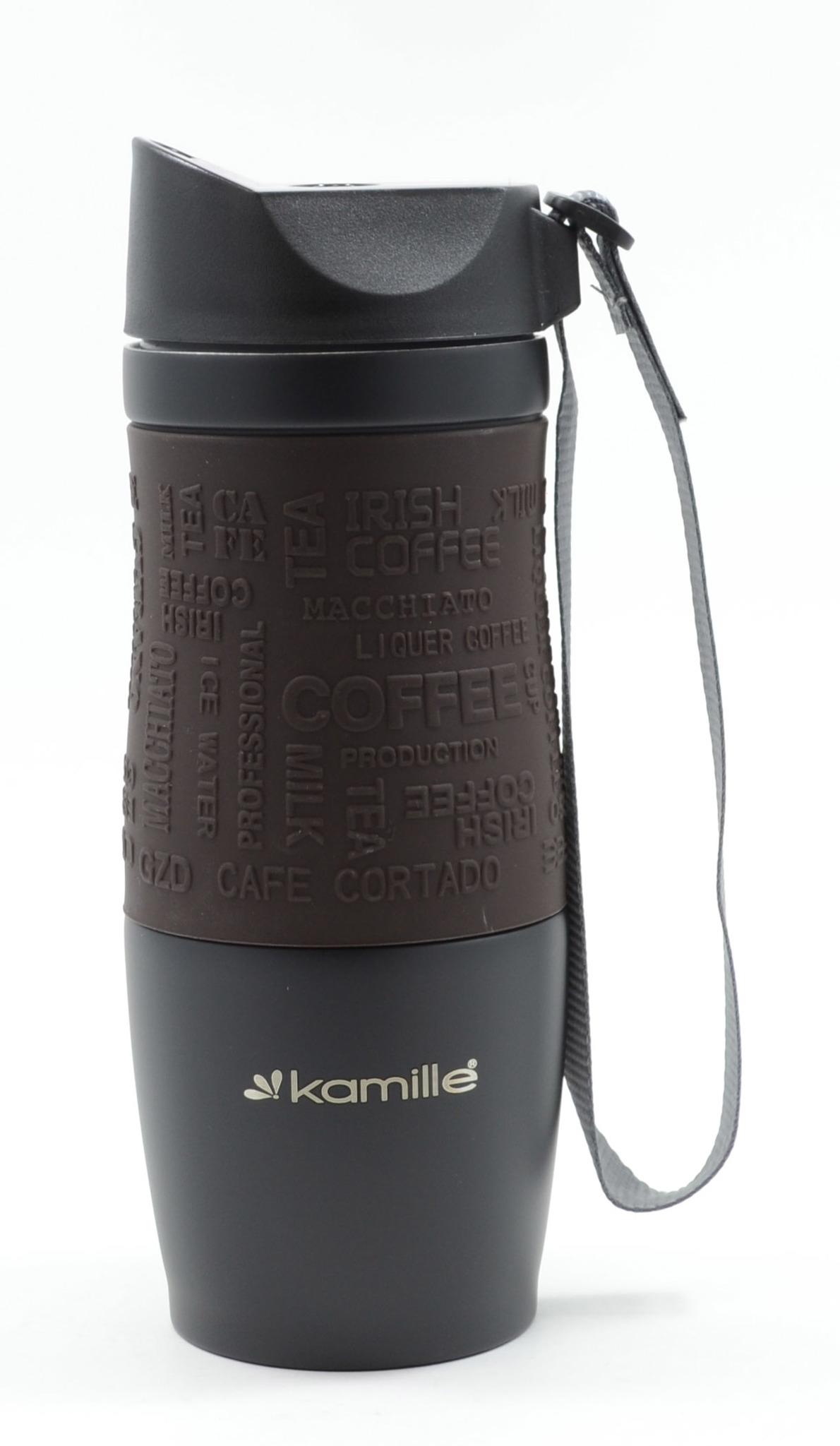 Термокружка Kamille c TPR и ремешком 380 мл. коричневая