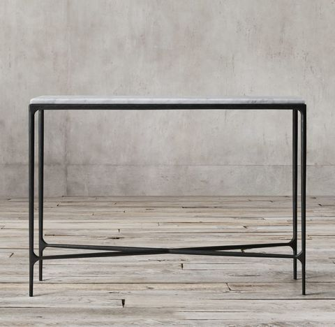 Thaddeus Forged Iron & Marble Rectangular Entry Console Table
