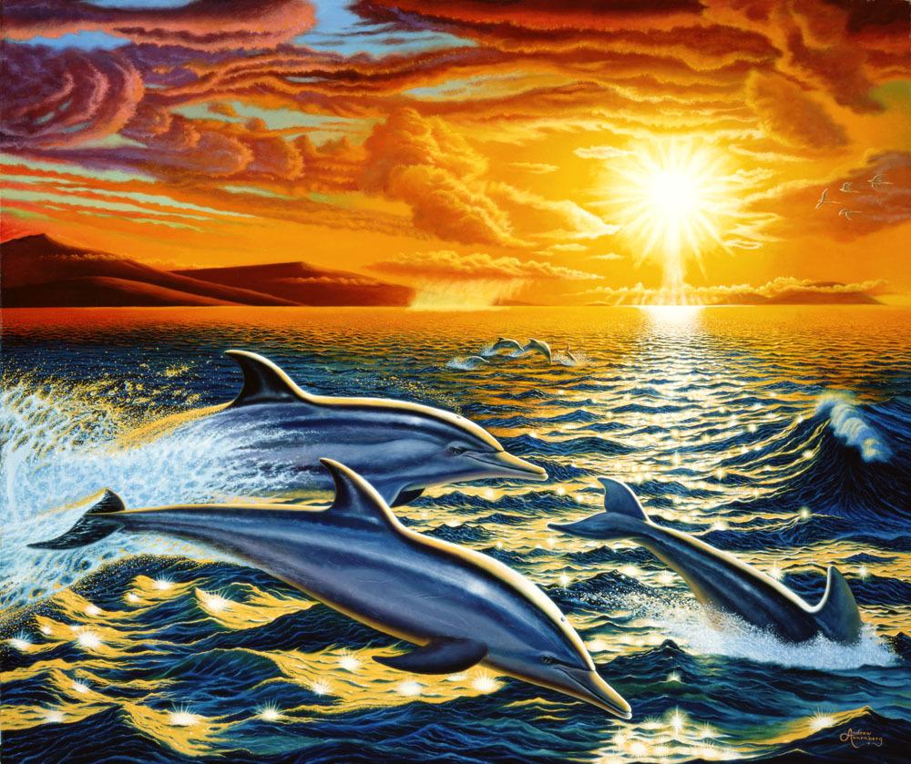 Картина раскраска по номерам 40x50 Дельфины на закате ...