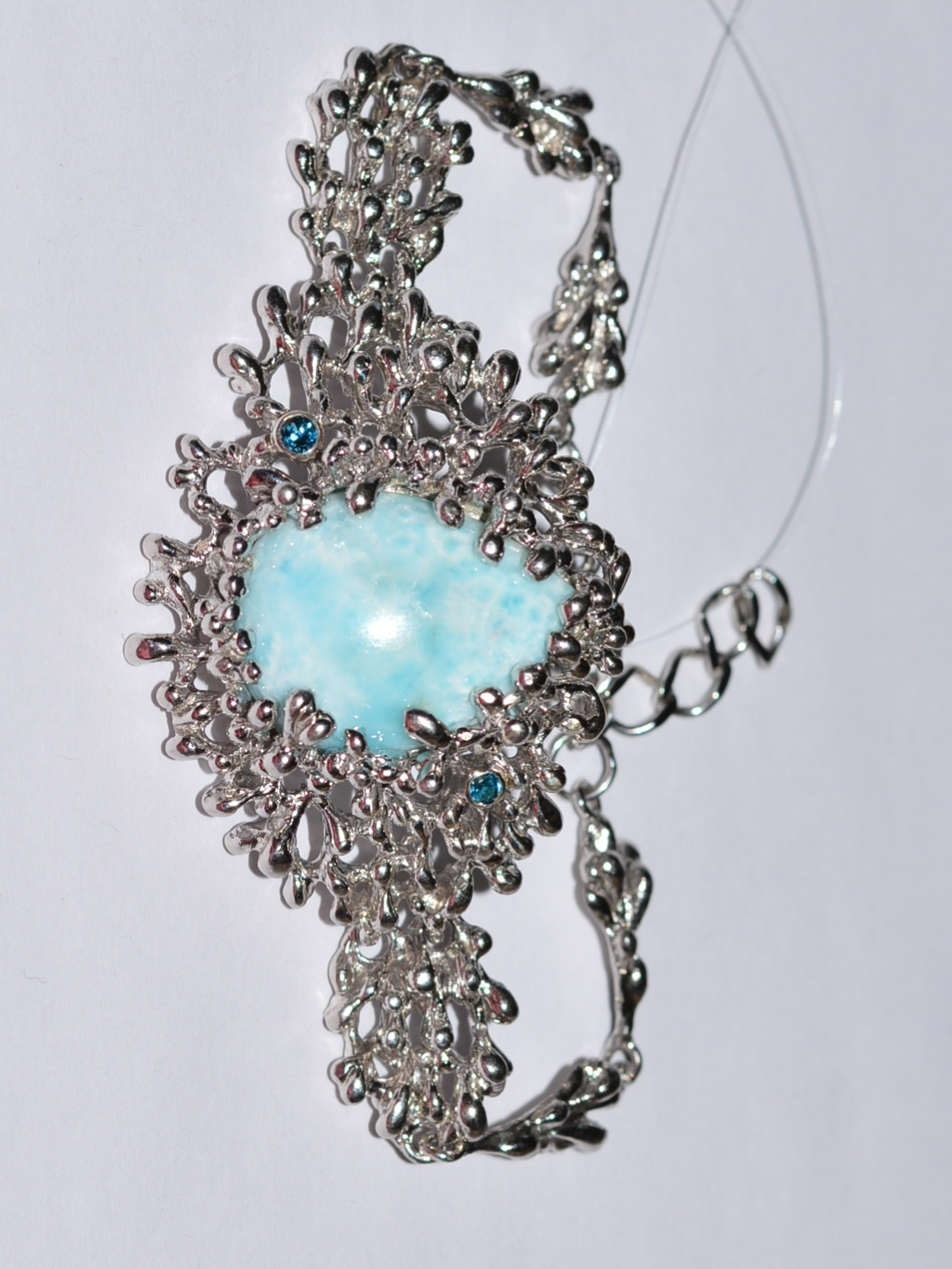 Ларимар (браслет из серебра)