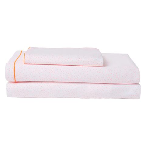 Комплект постельного белья с двойной простыней в розовую крапинку