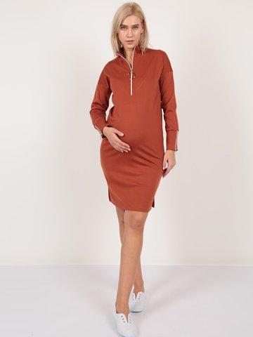 Евромама. Платье для беременных и кормящих трикотажное с молнией, кирпичный