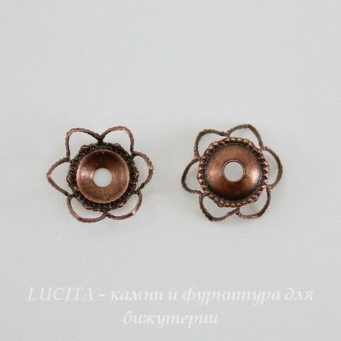 Винтажный декоративный элемент - шапочка 9х4 мм (оксид меди) ()