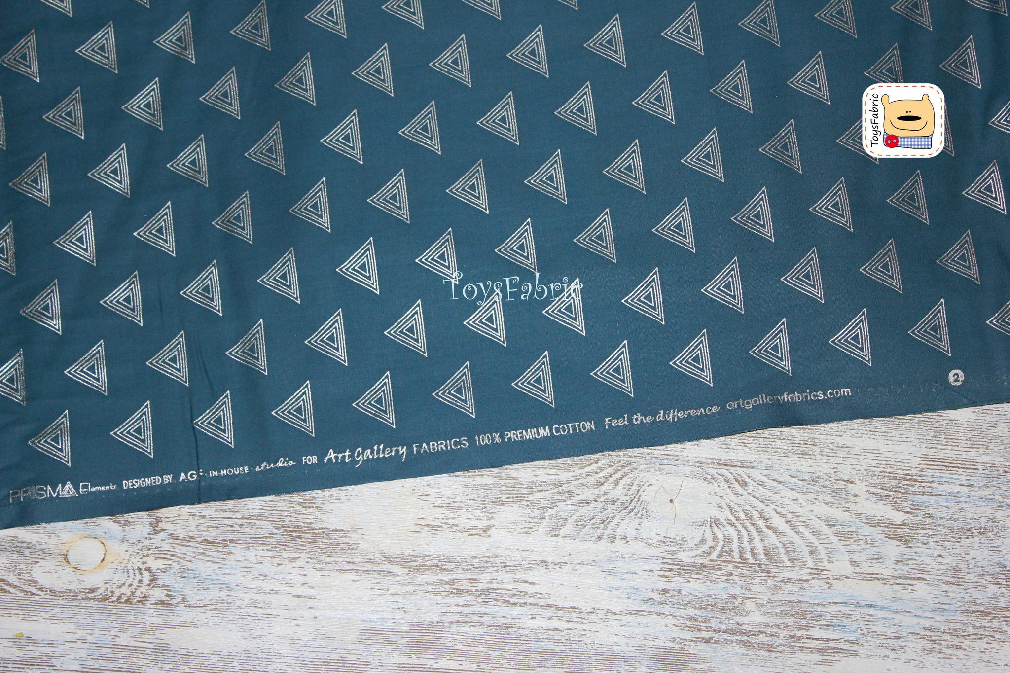 Ткань для пэчворка 20623 (серебряные треугольники на синем) 45х55см