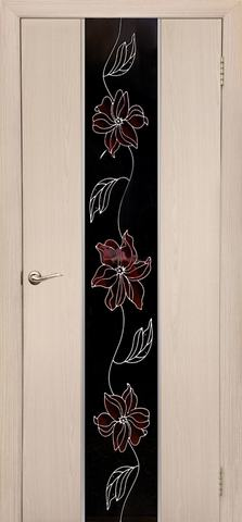 Дверь Дубрава Сибирь Гранд-Маки, стекло с рисунком/молдинг серебро, цвет беленый дуб, остекленная