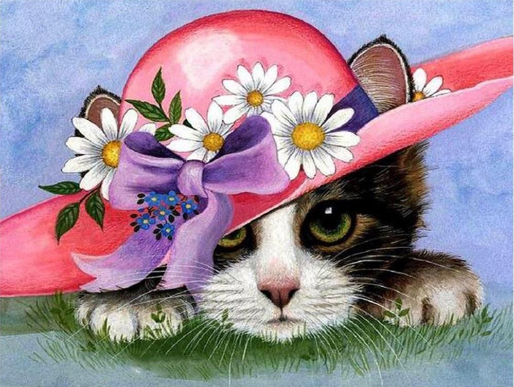 Картина раскраска по номерам 40x50 Котёнок в шляпе (арт ...