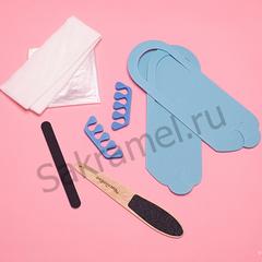 Комплект для педикюра классический (тапочки-вьетнамки 3 мм, салфетка 30х40 см - 2 штуки, пакет для педикюрных ванн, пилка одноразовая, пилка педикюрная двусторонняя, разделители для пальцев 8 мм) (1 комплект, упаковка)