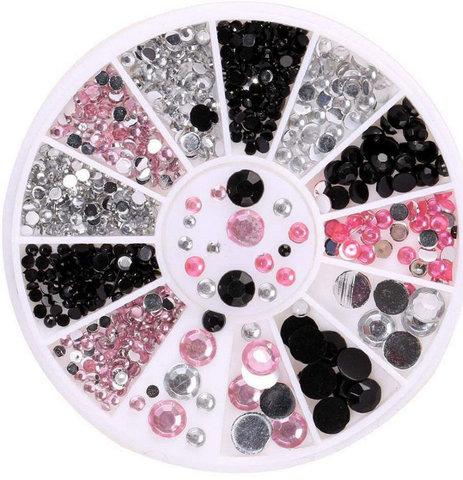 Стразы в карусели голография (черный,розовый,серебро), 1,5-4 мм