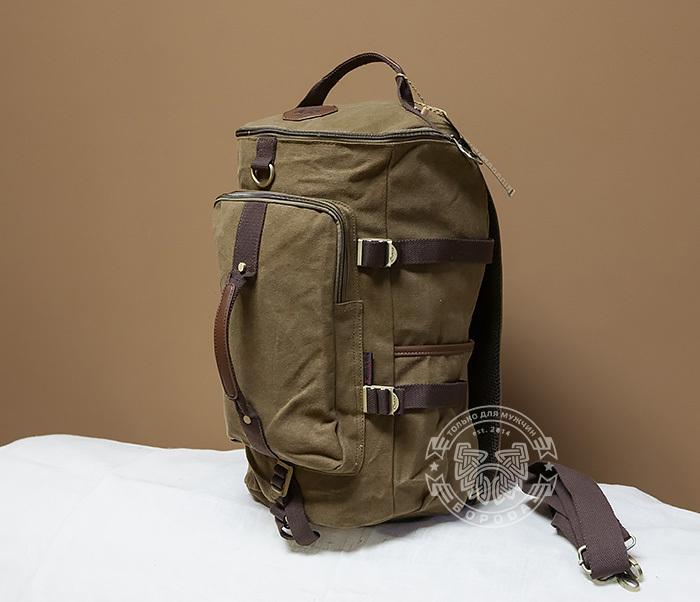 BAG368-2 Вместительная мужская тканевая сумка - рюкзак с ремнем на плечо фото 02