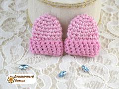 Декор шапочка вязаная розовый меланж (ручная работа)