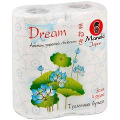 Бумага туалетная, MANEKI,  Dream, 3 слоя, утренняя свежесть, 4 рулона, 23 м
