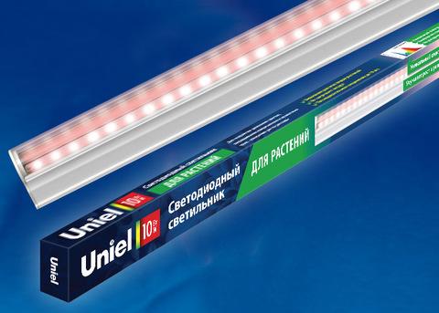 ULI-P16-10W/SPLE IP20 WHITE Светильник для растений светодиодный линейный, 570мм, выкл. на корпусе. Пластик. Спектр для фотосинтеза. TM Uniel.